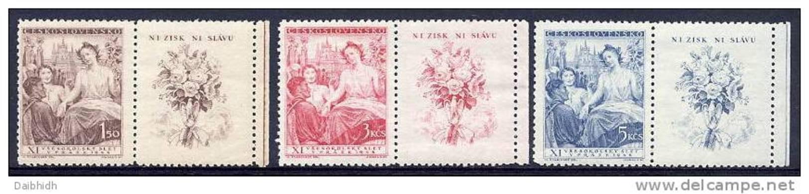 CZECHOSLOVAKIA 1948 Sokol Congress With Labels MNH / **.  Michel 532-34Zf - Czechoslovakia