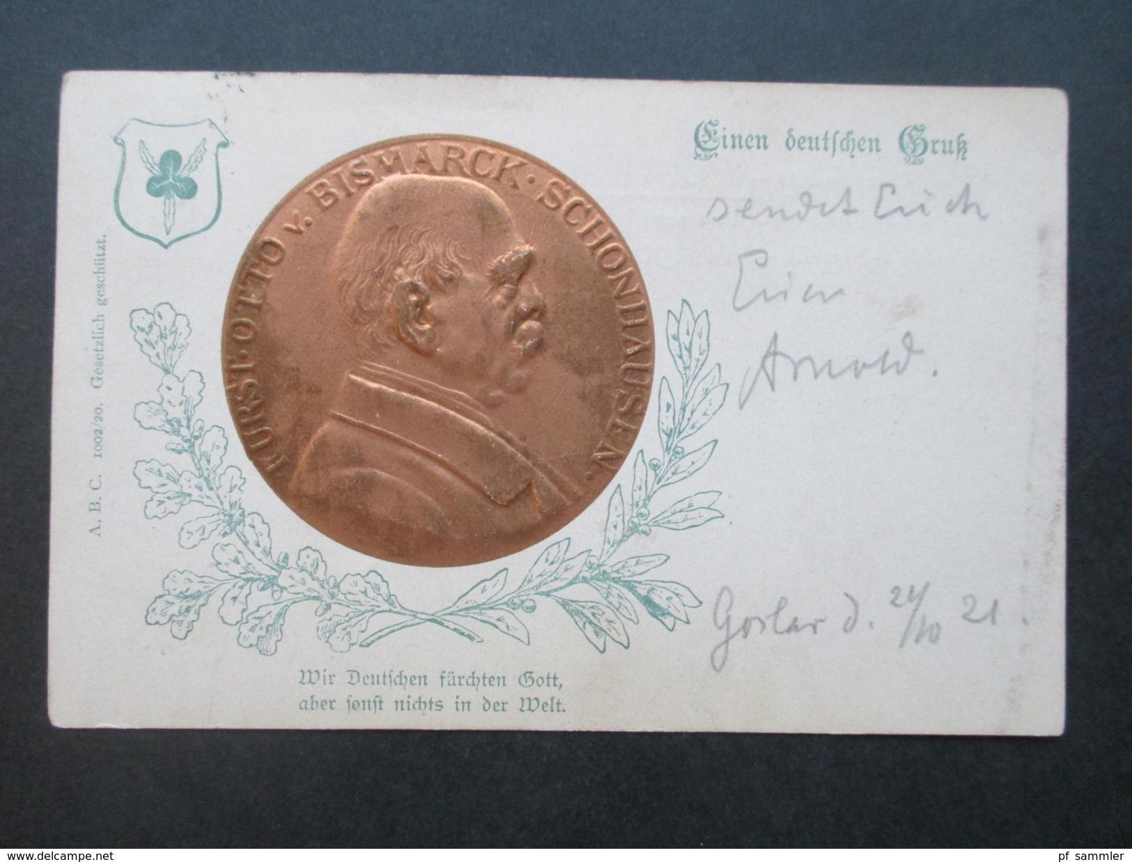 Deutsches Reich 1921 Reliefkarte / Münzkarte. Fürst Otto V. Bismarck Schonhausen. Einen Deutchen Gruß... ABC1002/20 - Persönlichkeiten