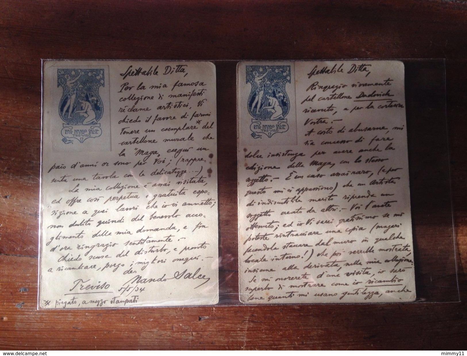 Cartoline/Firmate NANDO SALCE+Erinnofili/Prot/Motta-'34-Richiesta Manifesti RRR - Treviso