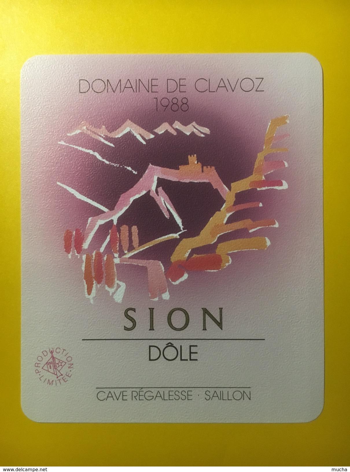 3119 -  Suisse Valais Domaine Clavoz 1988 Dôle - Etiquettes