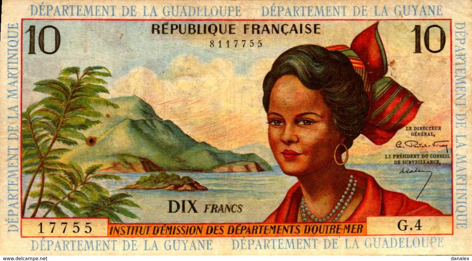 INSTITUT D'EMISSION D O M 10 FRANCS De 1964nd - Non Classificati