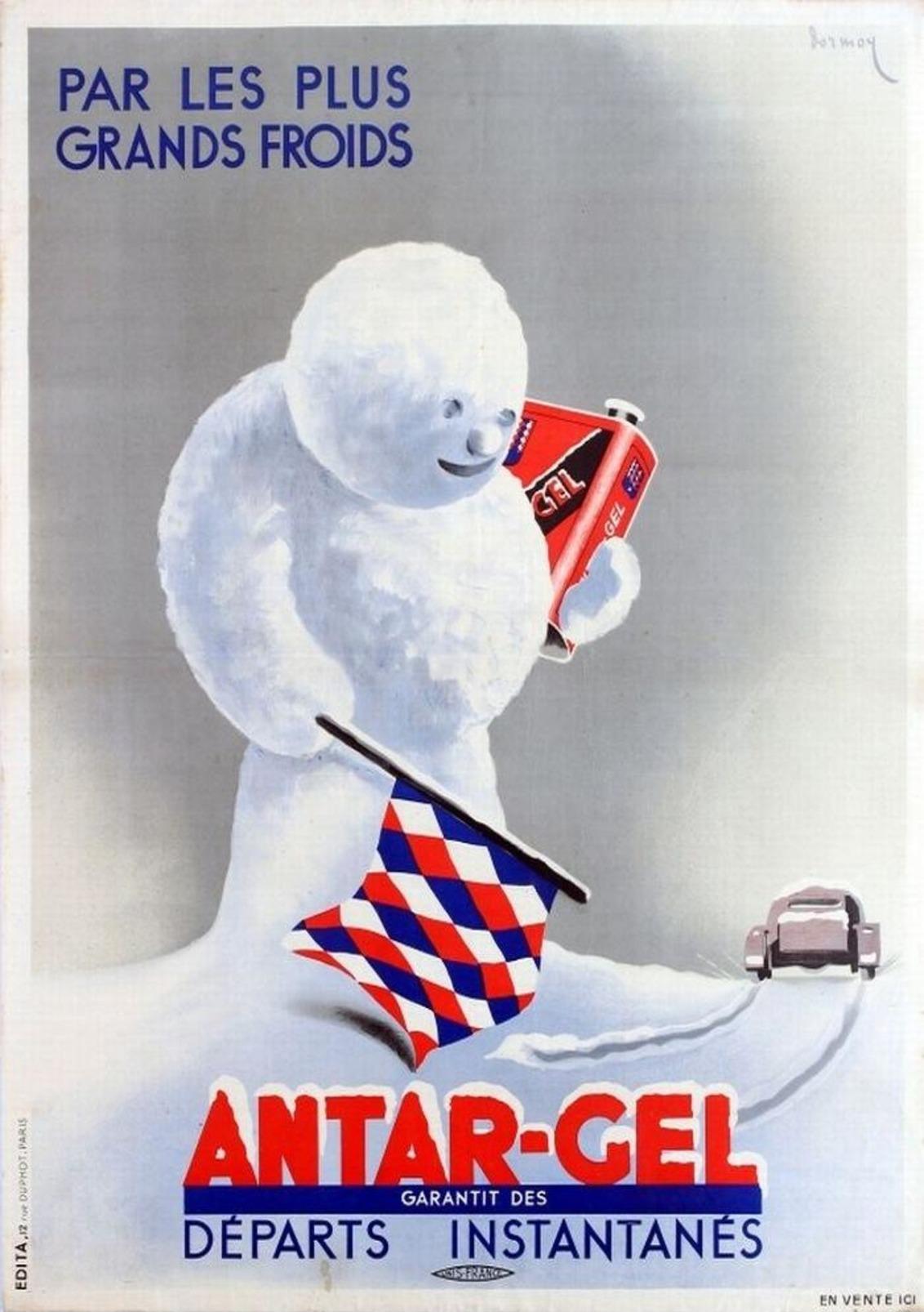 Antar-Gel Winter Motor Oil 1930s - Postcard - Poster Reproduction (N) - Publicité