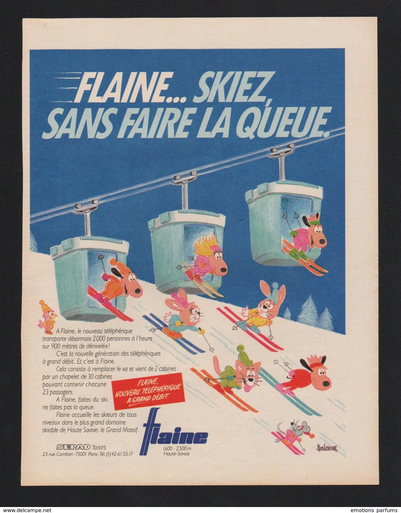Pub 1986 Tourisme Voyage Station Telepherique FLAINE 74 Haute Savoie Ski Skieur Humour Chat Souris Chien Barberousse - Publicités
