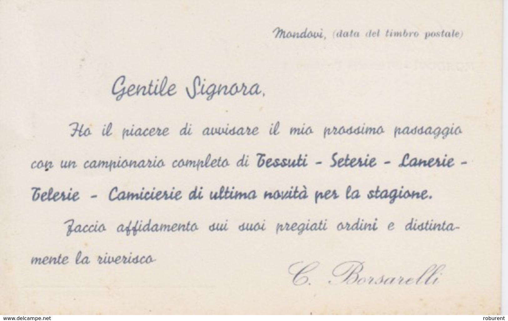 """MONDOVI' (CUNEO) - """"C. BORSARELLI TESSUTI - SETERIE - LANERIE - TELERIE - CAMICIERIE DI ULTIMA NOVITA' PER LA STAGIONE"""" - Pubblicitari"""
