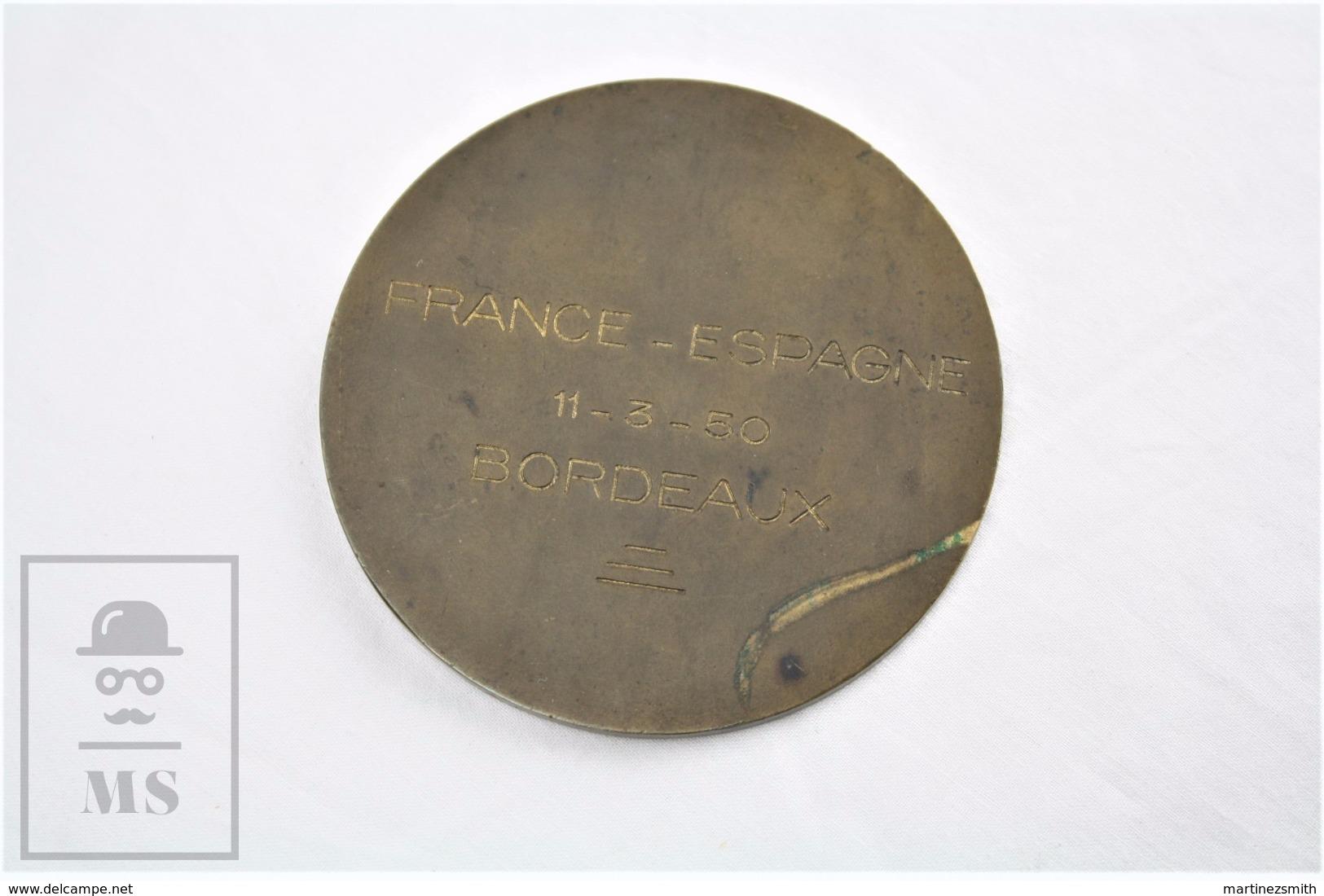 Federation Française De Handball - French Handball Federation Medal - France - Spain 1950 Match At Bordeaux - Palla A Mano