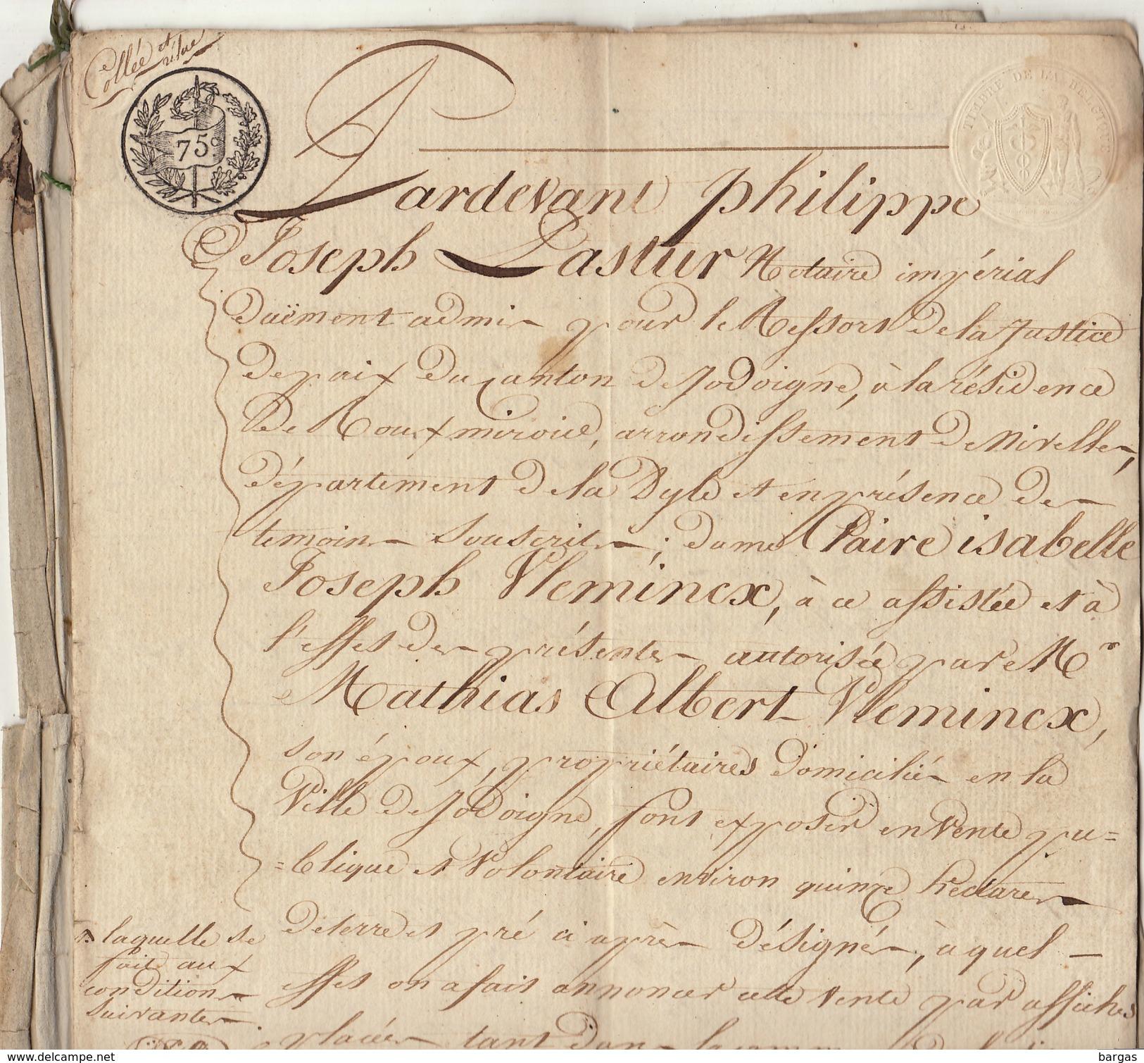 Acte Manuscrit 12 Pages Jean Generet Meunier à Piétrain Par Le Notaire Pastur à Roux Miroir Jodoigne Cachets - Manuscripts