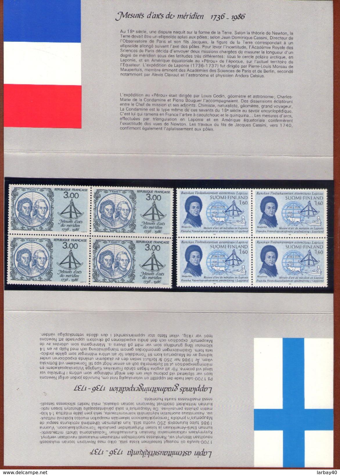 8 Timbres 1986 - Mesure D´arc Du Méridien - France