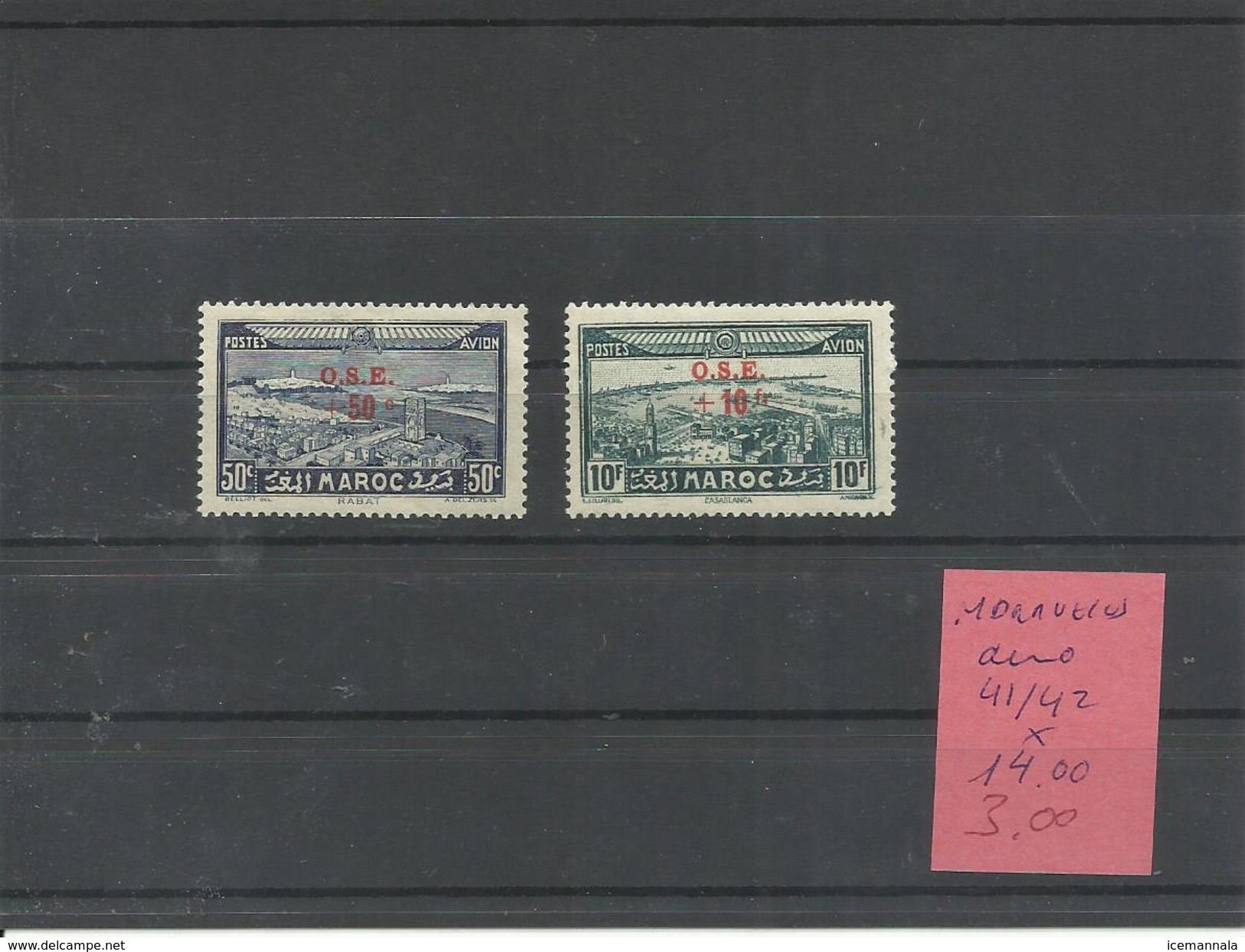 MARRUECOS  YVERT AEREO  41/42   MH  * - Marruecos (1891-1956)