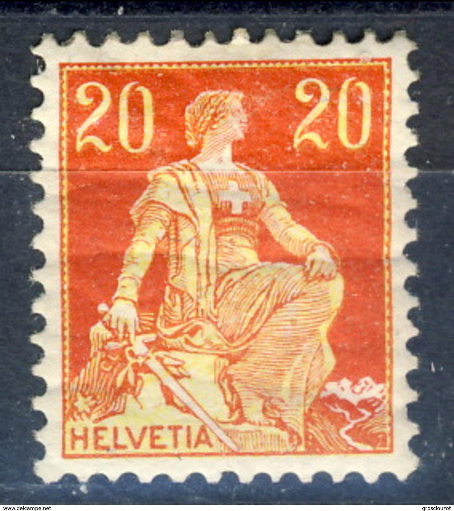 Svizzera 1908  N. 119 C. 20 Rosso E Giallo MH (gomma Screpolata) Cat. € 10 - Nuovi