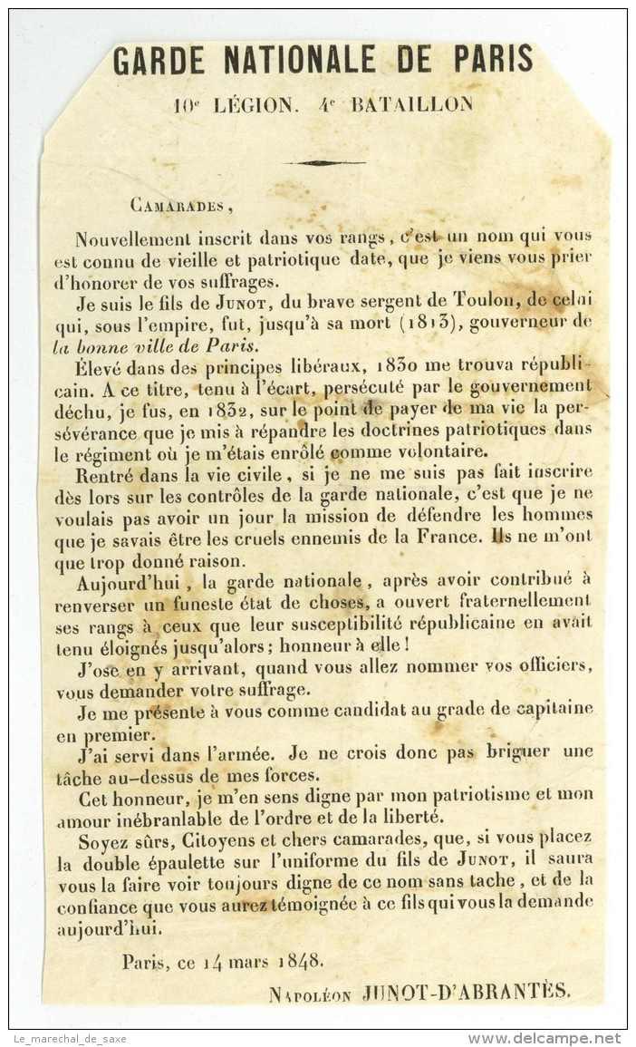 Napoleon JUNOT ? Deux Pieces - 1848 Et 1850 - A Decouvrir - Auteuil Garde Nationale Paris Revolution - Documenti Storici