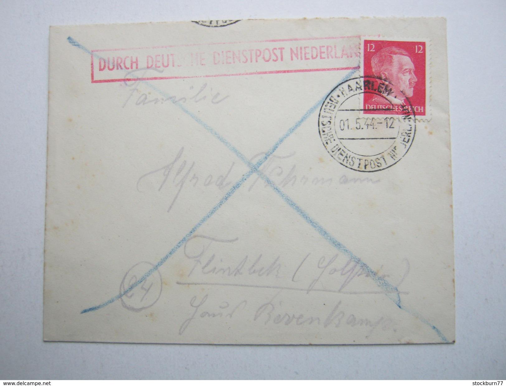 1944 , HAARLEM , Dienstpost Niederlande , Brief Der Schiffsmaschinenwerk In Haarlem - Duitsland