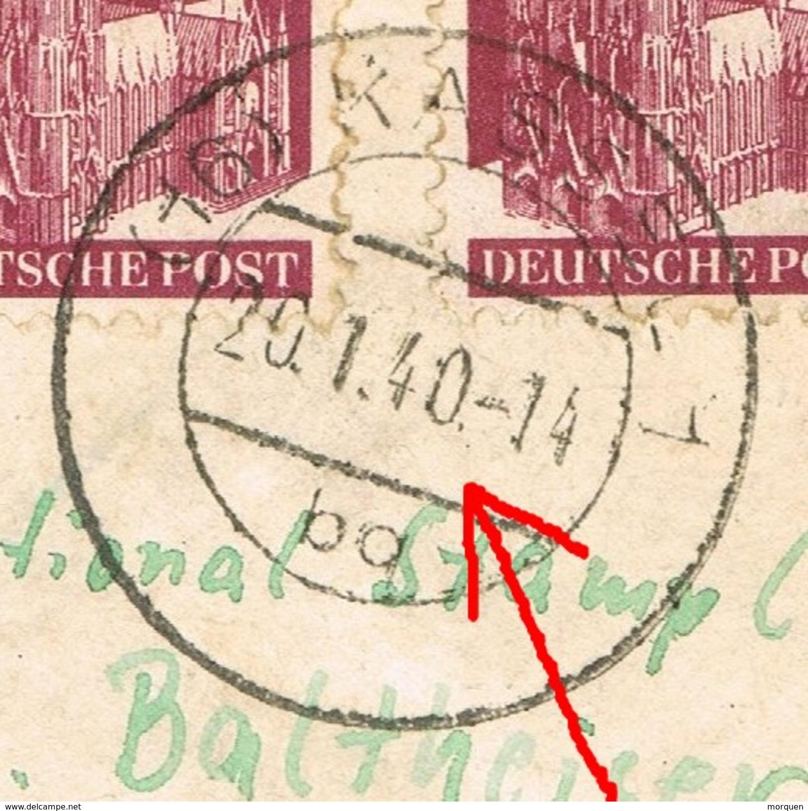 20896. Carta Aerea Certificada KASSEL (Alemania Zona Anglo Americana) 1949. ERROR Fechador - Zona Anglo-Américan