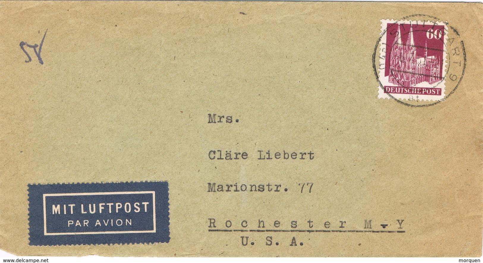 20897. Carta Aerea  STUTTGART (Alemania Zona Anglo Americana) 1951 To USA - Zona Anglo-Américan