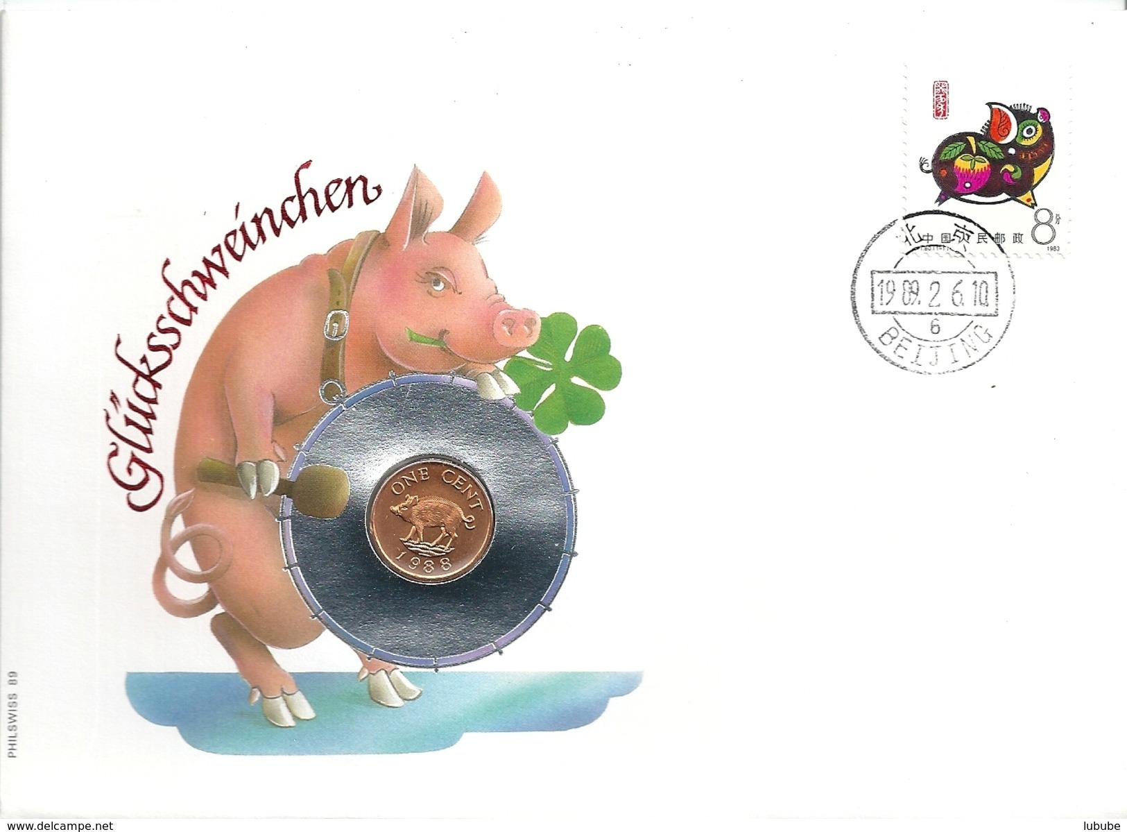 """Münzbrief  """"Glücksschwein""""  Beijing            1989 - 1949 - ... Repubblica Popolare"""