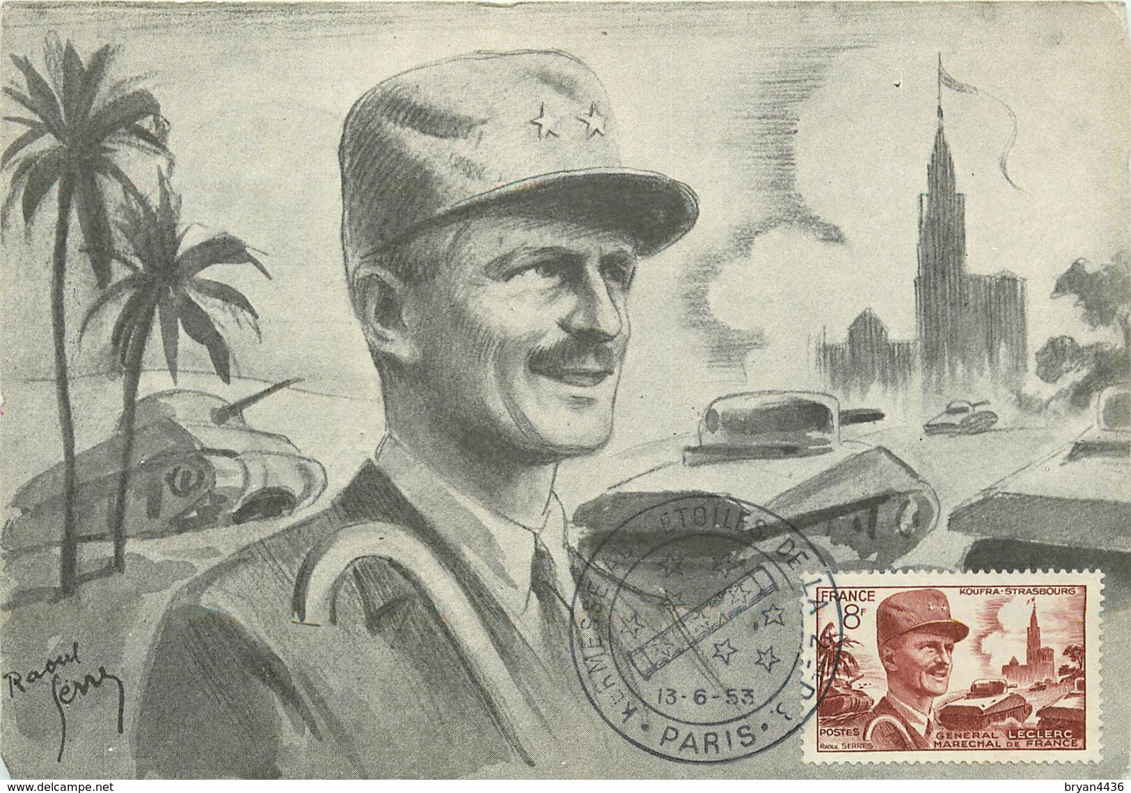 WW2 - GENERAL LECLERC - MARECHAL DE FRANCE - CPA MAXIMUM ILLUSTRATEUR - 1954 - BEAUX CACHETS. - Guerre 1939-45