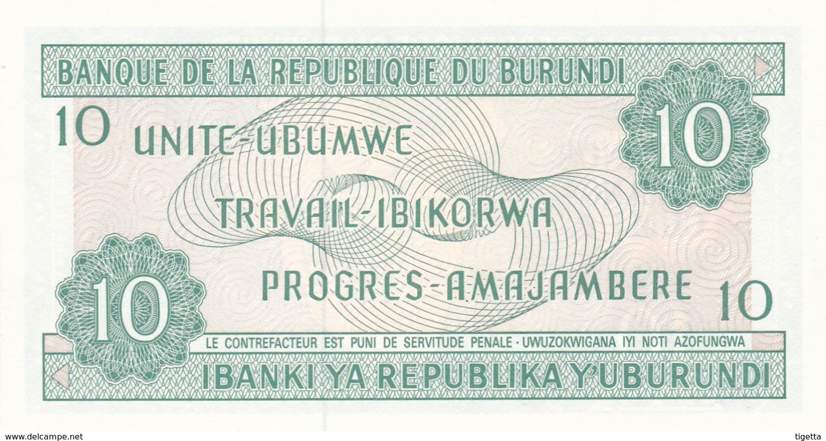 BURUNDI 10 FRANCS 1991 FDS - Burundi