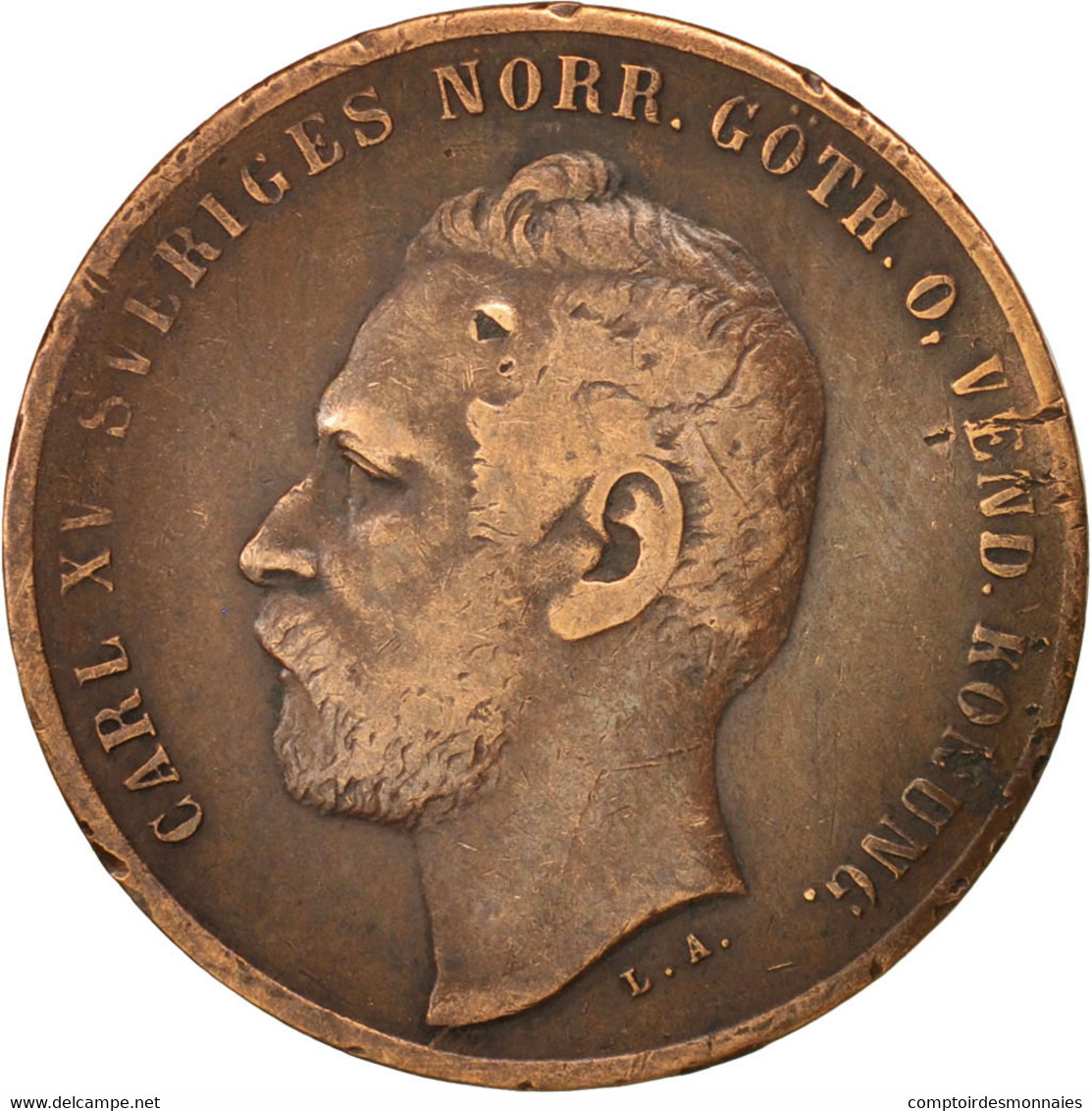 Suède, Carl XV Adolf, 2 Öre, 1866, TTB, Bronze, KM:706 - Suède