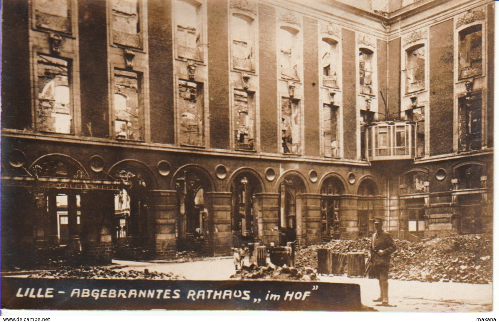 59LIL13- LILLE , Carte Photo , Abgebranntes Rathaus - Lille
