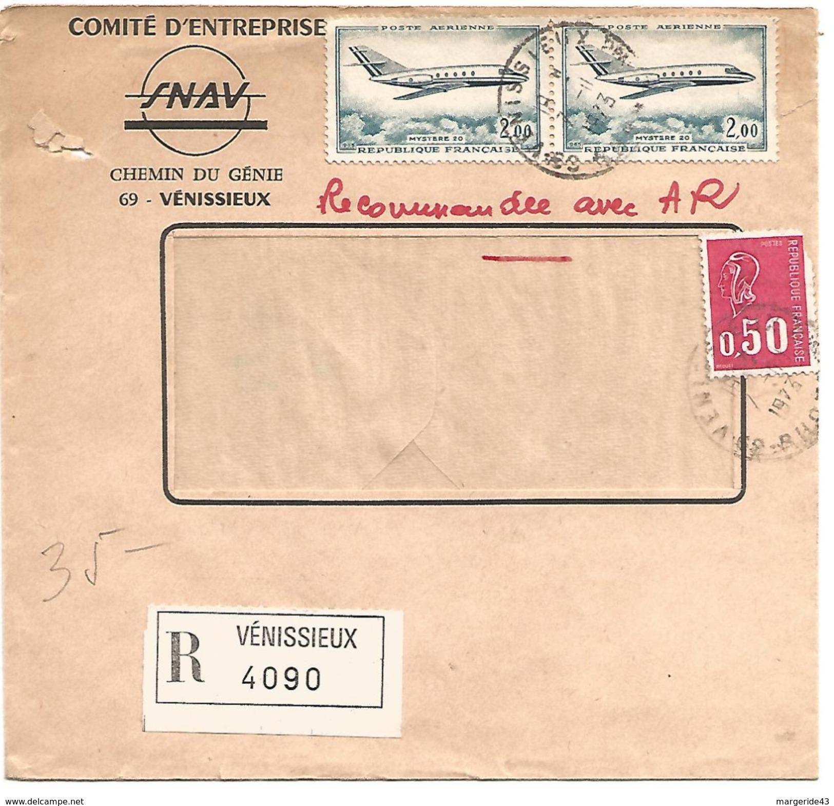 AFFRANCHISSEMENT COMPOSE SUR LETTRE RECOMMANDEE DE VENISSIEUX (RHONE) 1973 - 1961-....