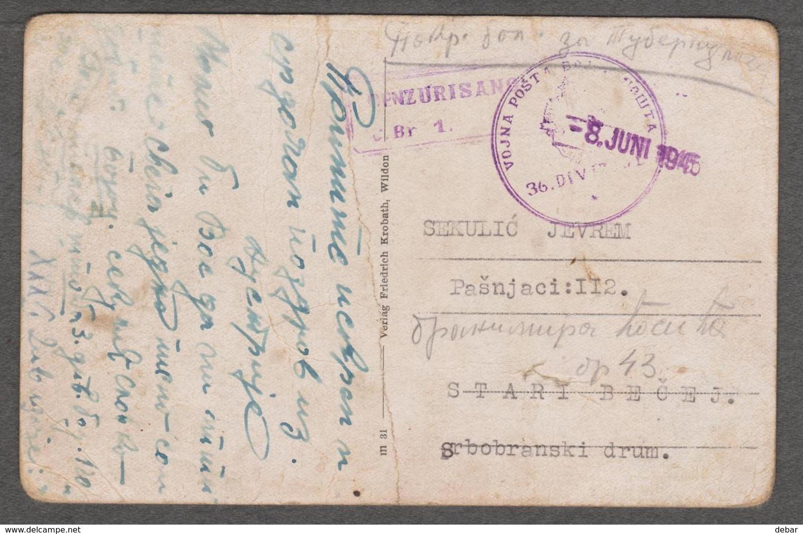 POSCARD - VOJNA POSTA 36.DIVIZIJE  -8.JUNI  1945 - GROS - FLORIAN,STEIERMARK - Gebraucht