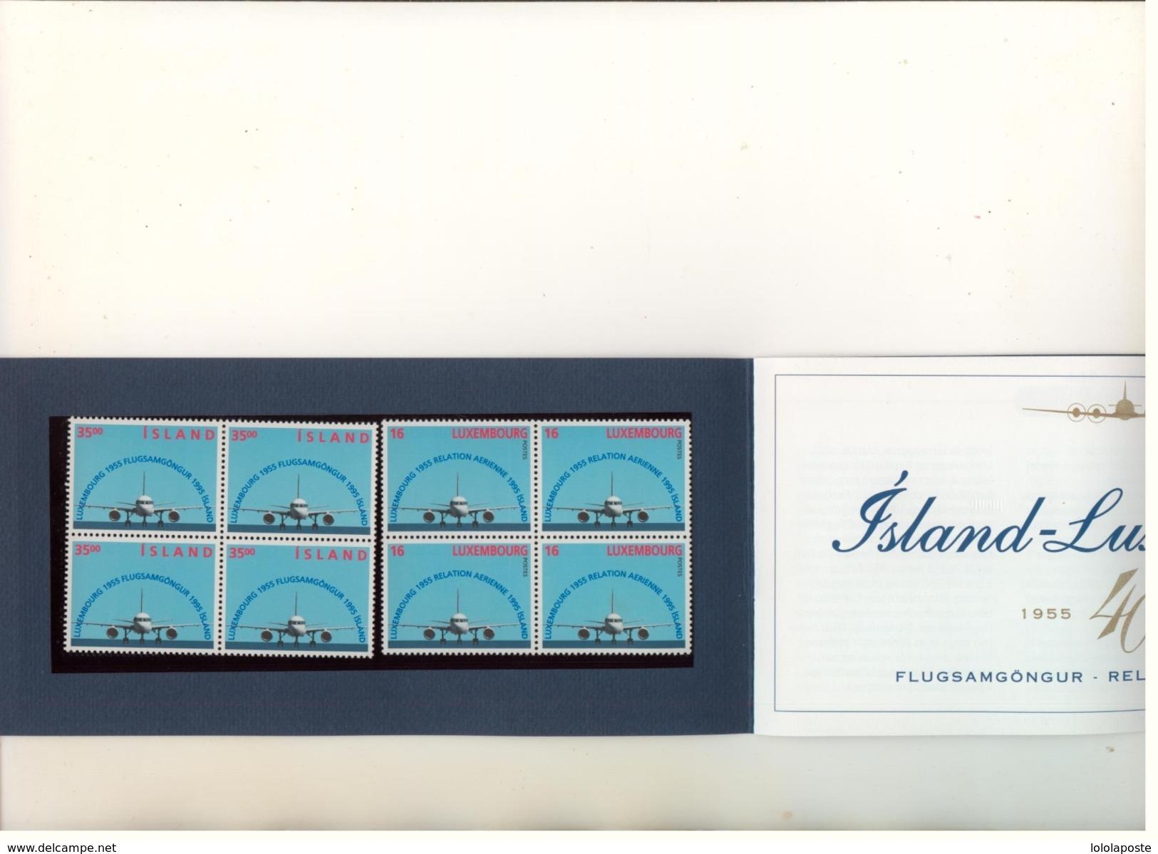 ISLANDE - 1995 - Emmission Commune Avec Le LUXEMBOURG - 4 Blocs De 4 Dont 2 Neufs Et 2 Oblitérés - Islande