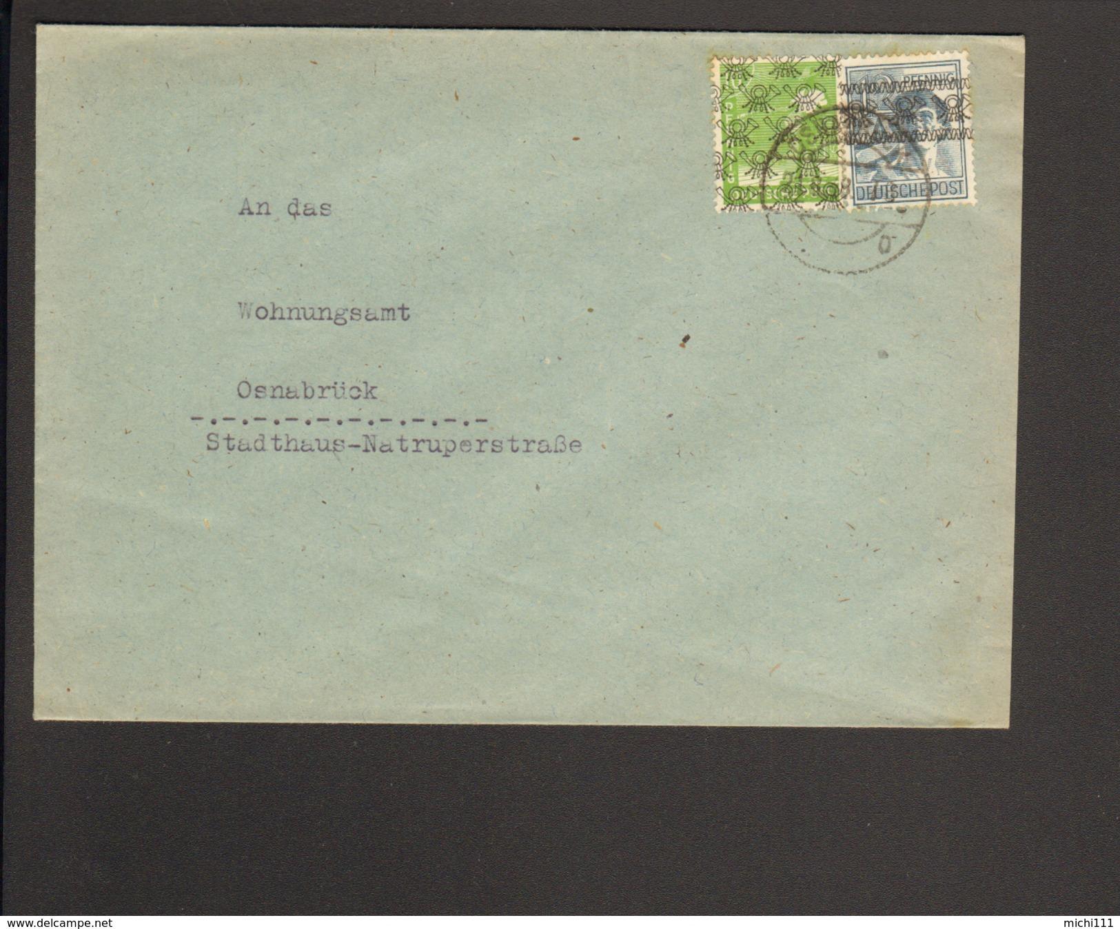 Bizone 12 Pfg.Band-  Und 10 Pfg.Netzaufdruck Auf Ortsbrief V.Osnabrück V.21.8.48 - Bizone