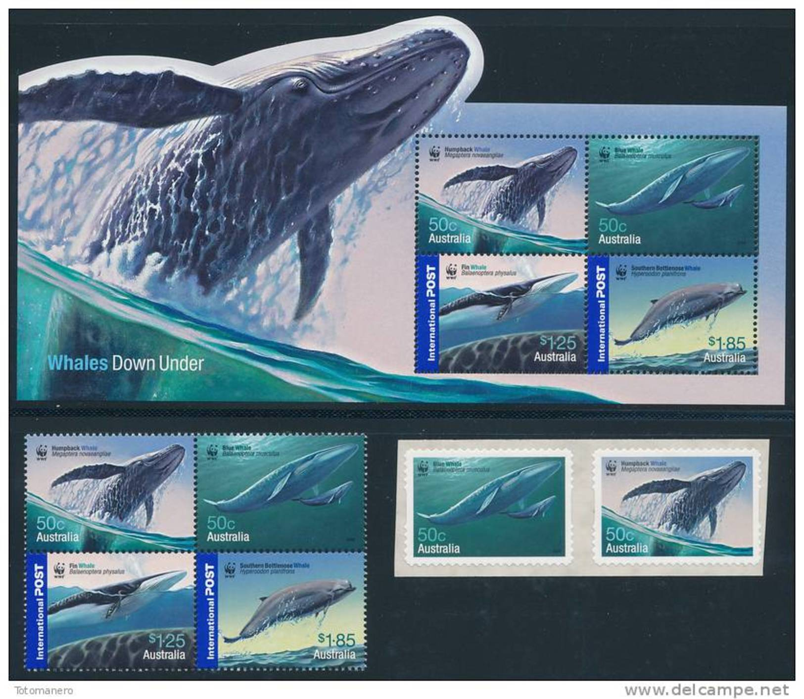 AUSTRALIA 2006, Antarctic Whales Set Of 4v +pair Self-adhesive & M/S** - Antarctic Wildlife