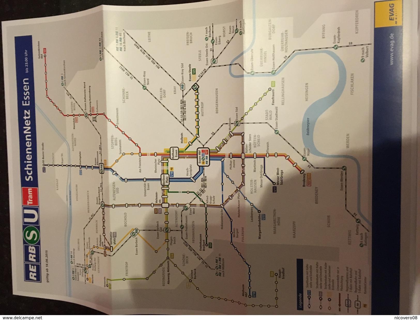 Transit Map Essen + City Map - Subway Bus Tram - World