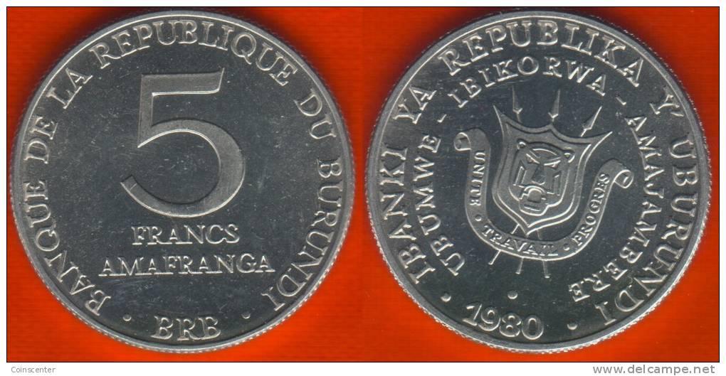 Burundi 5 Francs 1980 Km#20 UNC - Burundi