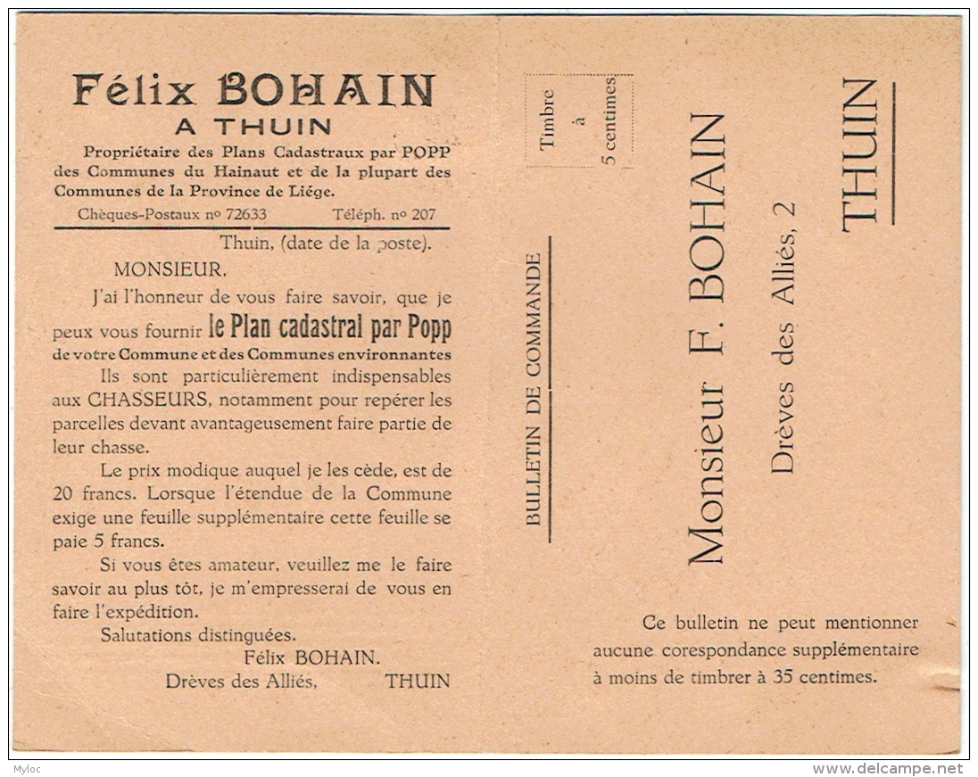 Bulletin De Commande. Thuin. Félix  Bohain. Plan Cadastral Par Popp. - Belgien