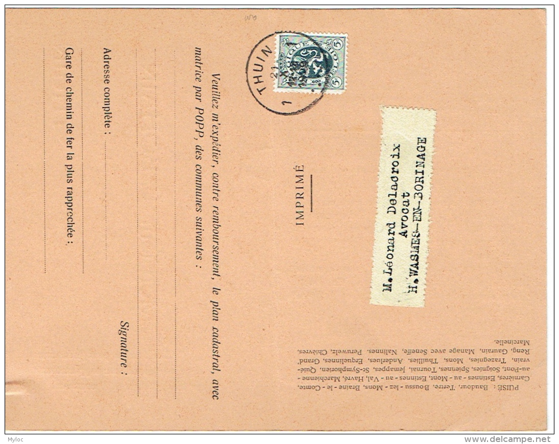 Bulletin De Commande. Thuin. Félix  Bohain. Plan Cadastral Par Popp. - Bélgica
