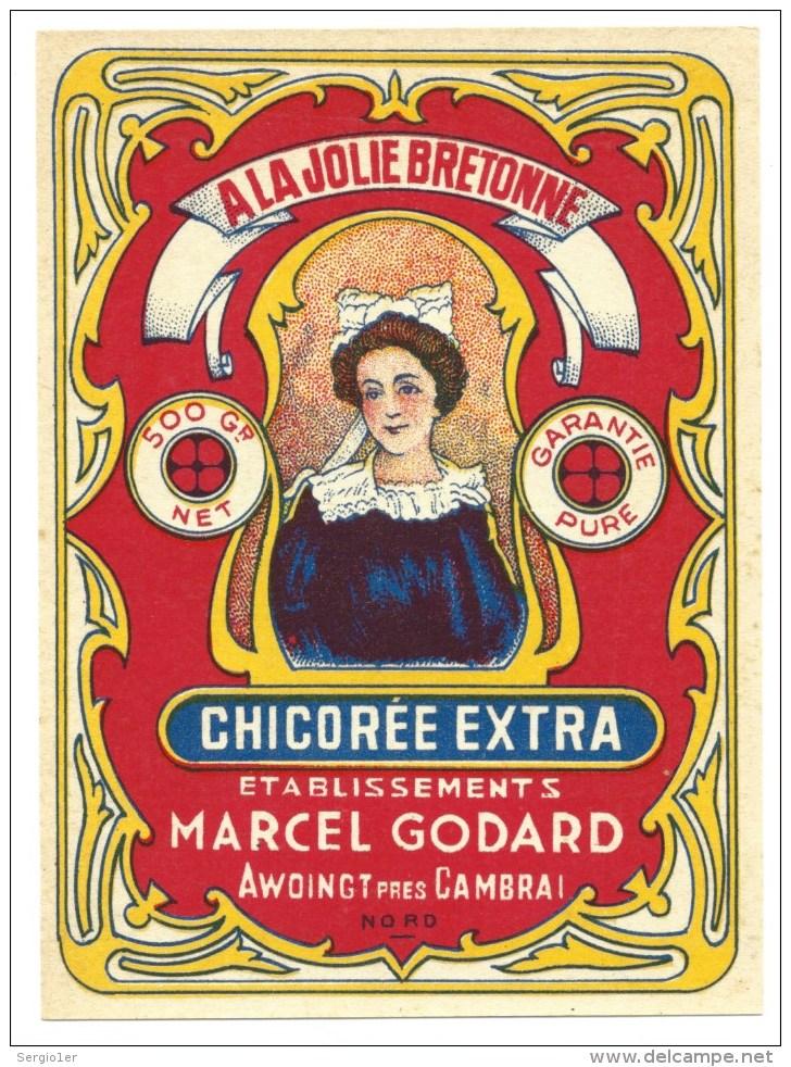 """Ancienne  étiquette  Chicorée Extra à La Jolie Bretonne Ets Marcel Godard Awoingt Pres De Cambrai Nord 59 """"femme"""" - Fruits & Vegetables"""