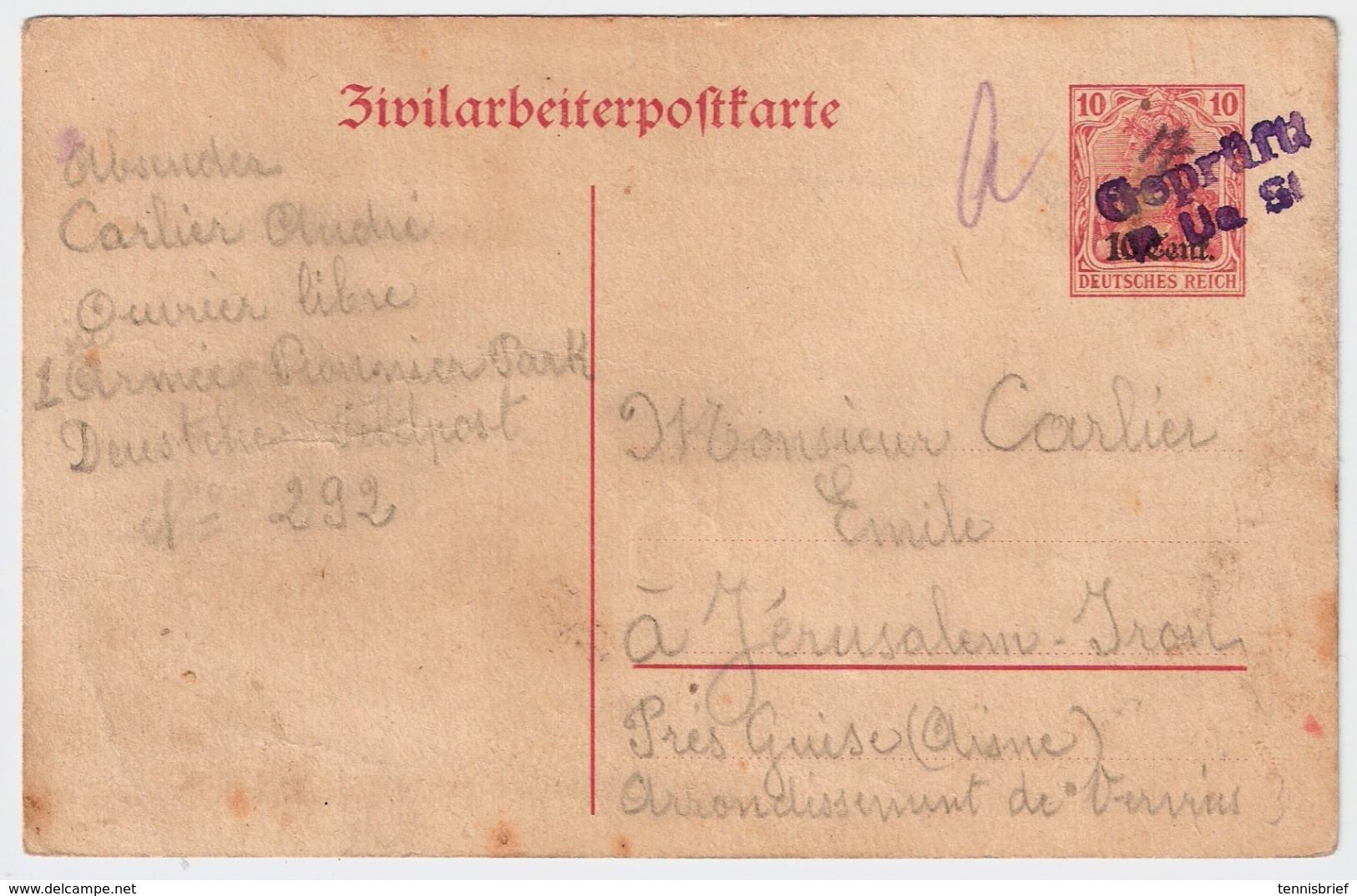 "Etapes, 1917, "" Zivilarbeiterpostkarte "" , Destination Rare !! #7084 - Guerre 14-18"