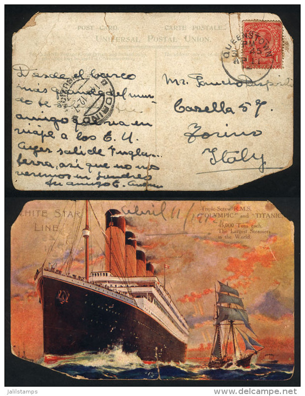 Postcard Sent On 11/AP/1912 From The Titanic By The ONLY ARGENTINIAN PASSENGER To A Friend In Italy, During The... - United Kingdom