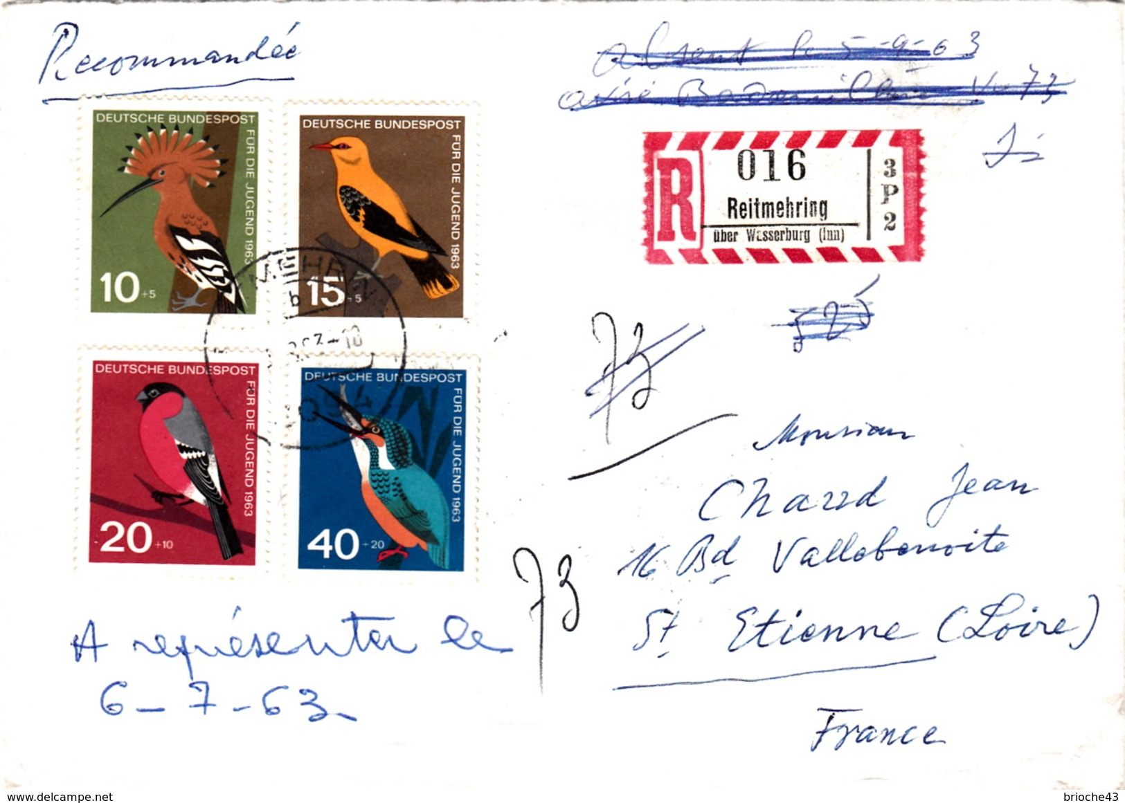 ALLEMAGNE   COVER BIRD -  RECOMMANDE REIFMEHRING- OBLITERATION RONDE 1963 - Birds