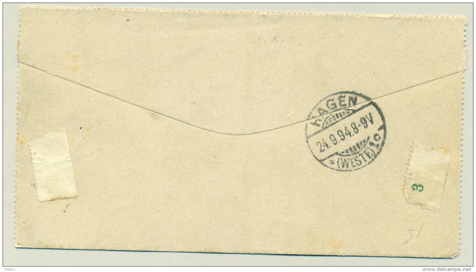 Nederland - 1894 - 7,5 Cent Hangend Haar Op Postblad Van Delft Naar Hagen / Duitsland - Period 1891-1948 (Wilhelmina)