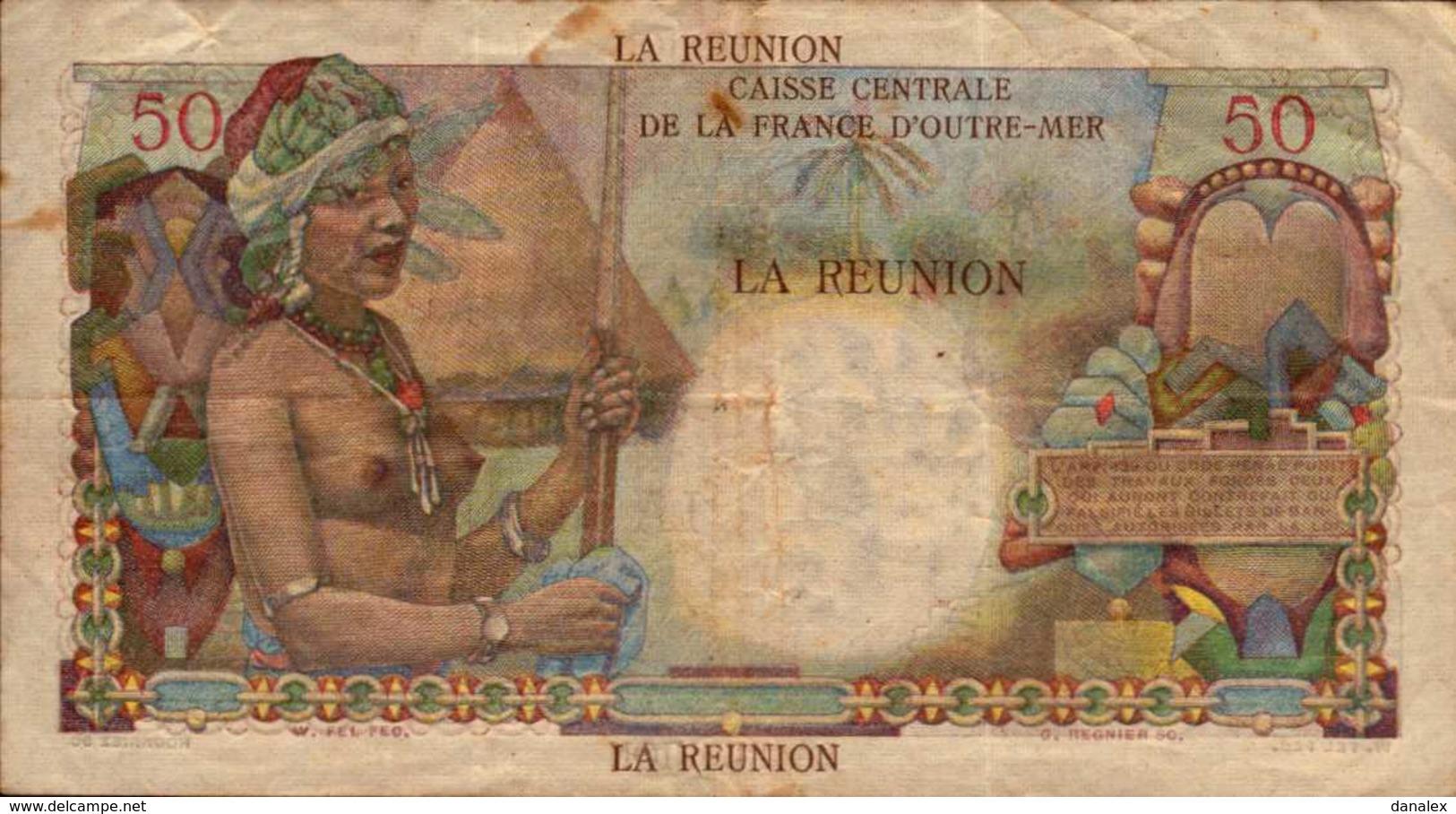 LA REUNION 50 FRANCS De 1947nd  Pick 44a - Reunion
