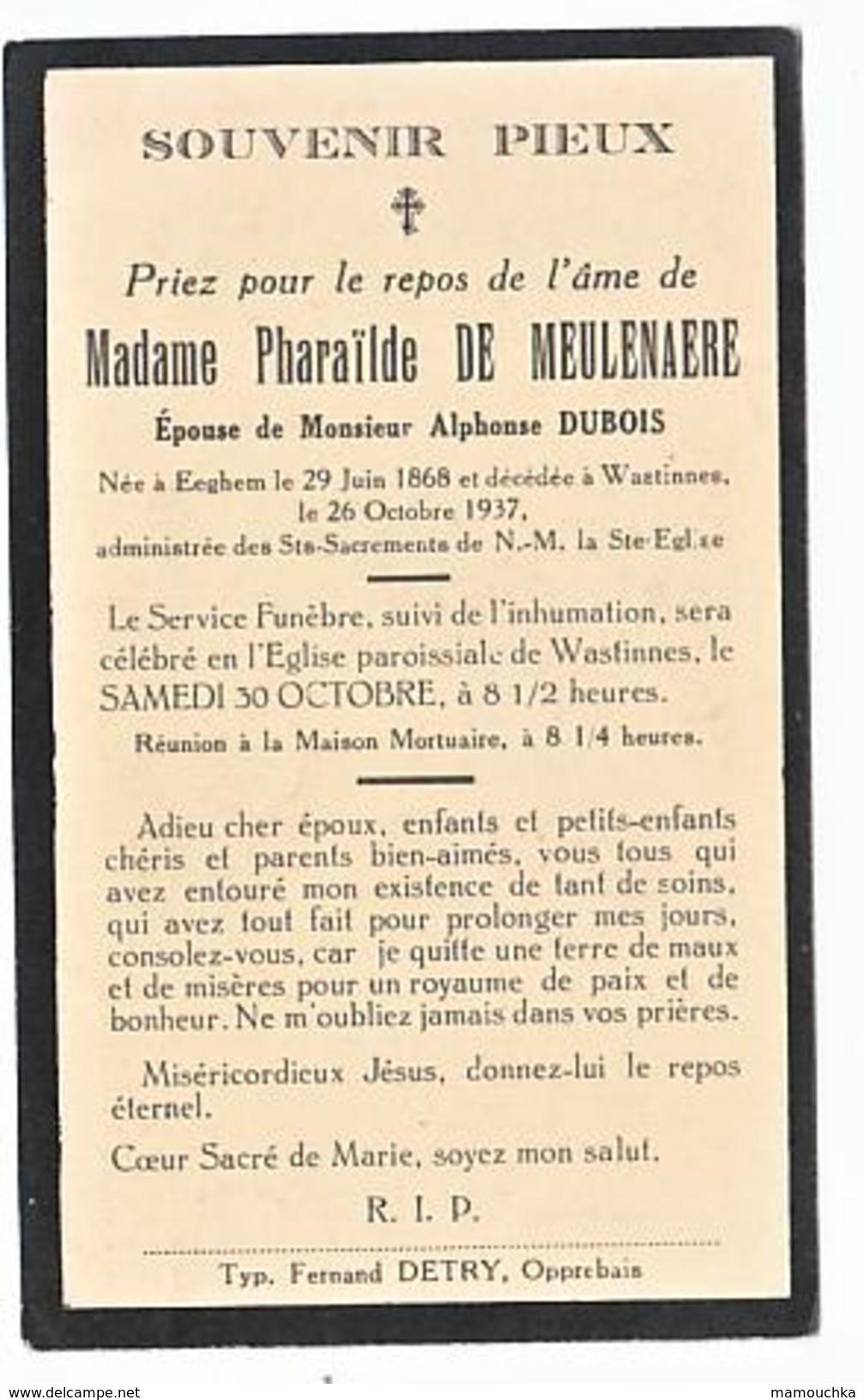 Décès Pharaïlde DE MEULENAERE époux Alphonse Dubois Eeghem 1868 Wastinnes 1937 - Images Religieuses