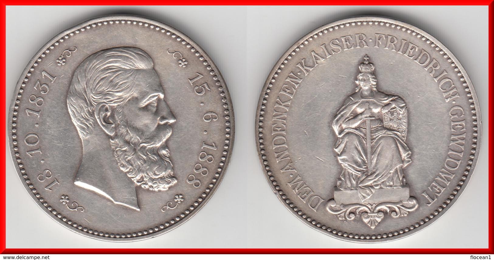 **** PREUSSEN - PRUSSIA - ALLEMAGNE - GERMANY - MEDAL KAISER FRIEDRICH 18.10.1831-13.6.1888 - SILVER **** ACHAT IMMEDIAT - Royaux/De Noblesse