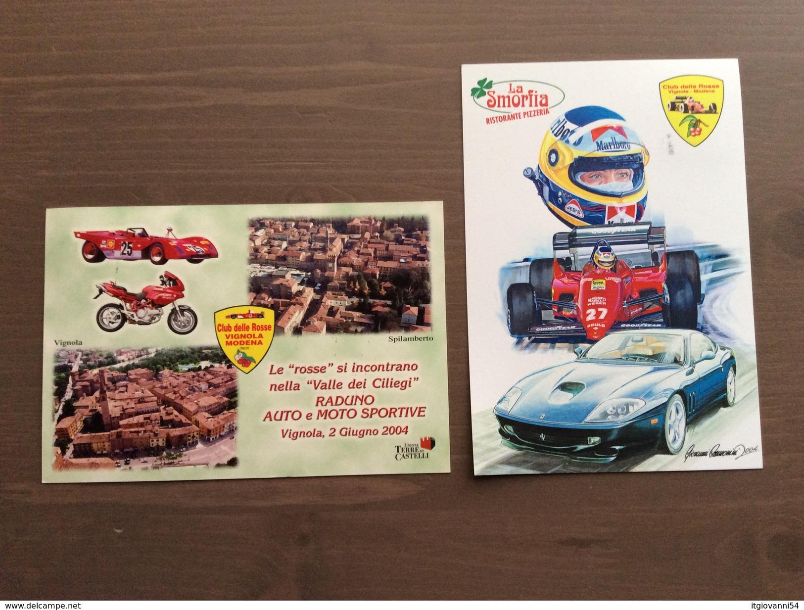 """Coppia Cartoline Ufficiali Club Delle Rosse """"Vignola...è Tempo Di Ciliegie"""" Vignola (MO) 29-5-2004 - Grand Prix / F1"""