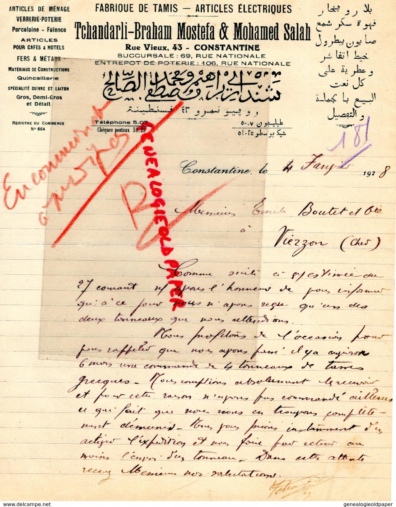 ALGERIE - CONSTANTINE- FACTURE TCHANDARLI BRAHAM MOSTEFA & MOHAMED SALAH- FABRIQUE TAMIS -VERRERIE -PORCELAINE-1928 - Factures & Documents Commerciaux