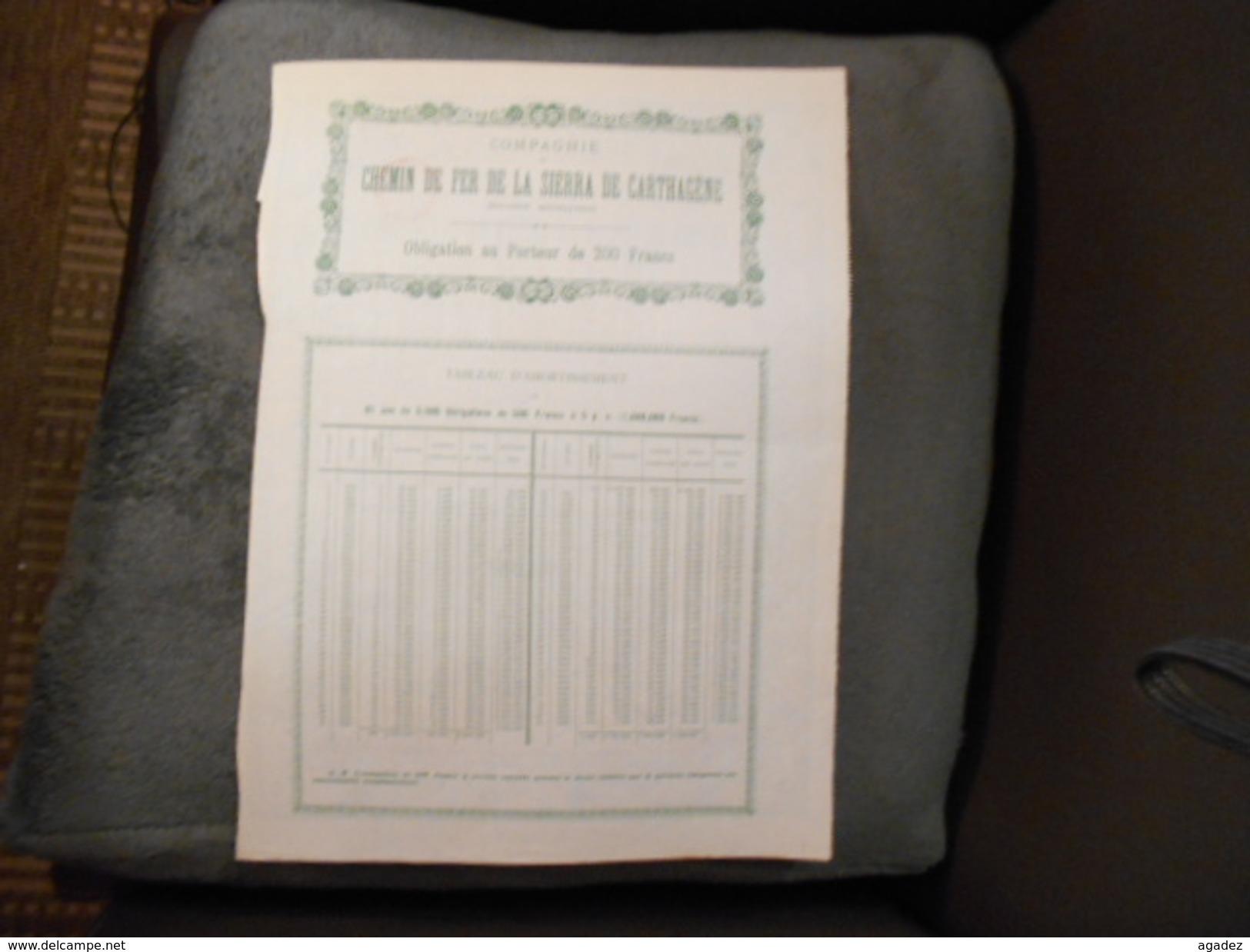 """Obligation""""Cie Du Chemin De Fer De Carthagène""""(Espagne Spain)Bruxelles 1905 N°03051 - Ferrocarril & Tranvías"""