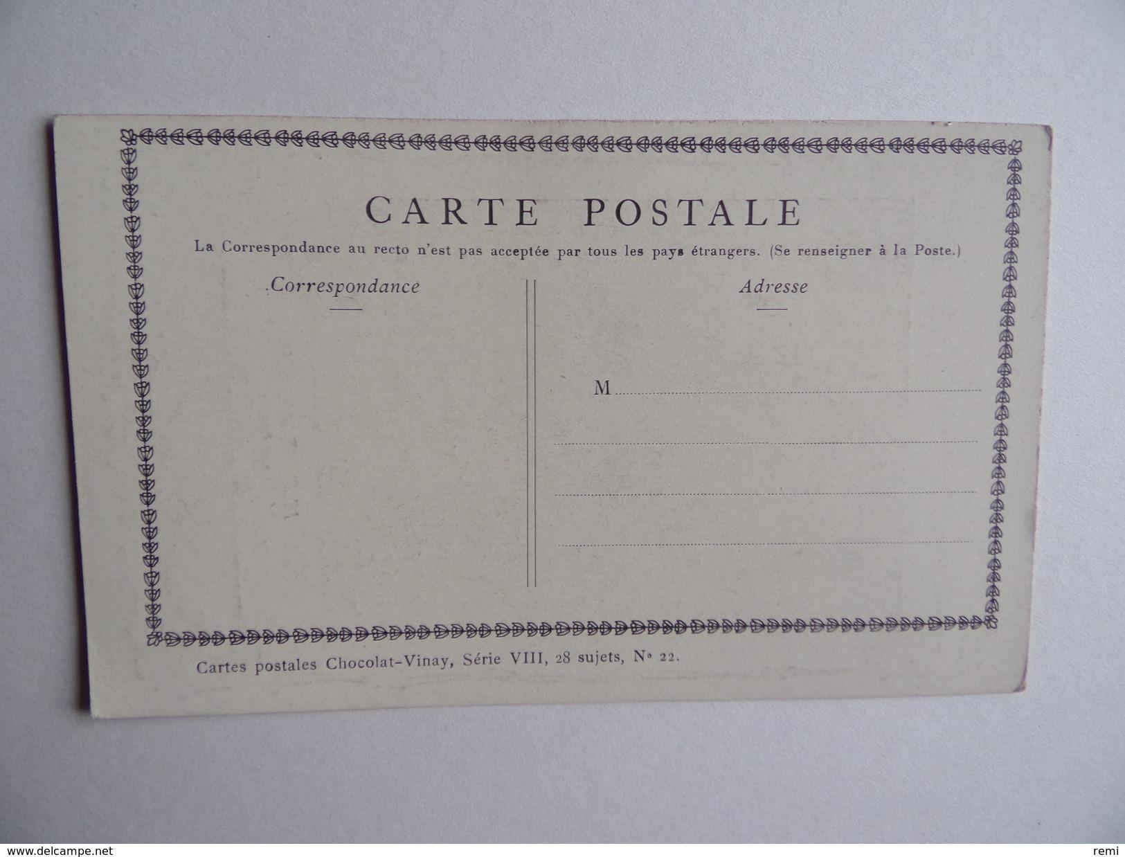 Carte Postale CHOCOLAT VINAY Le Joueur De Vielle Série VIII 28 Sujets N° 22 - Publicité