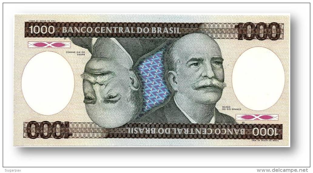 BRASIL - 1000 CRUZEIROS - ND ( 1986 ) - P 201.d - UNC. - Serie 1 - Sign. 22 - Prefix B - Barão Do Rio Branco - Brasile
