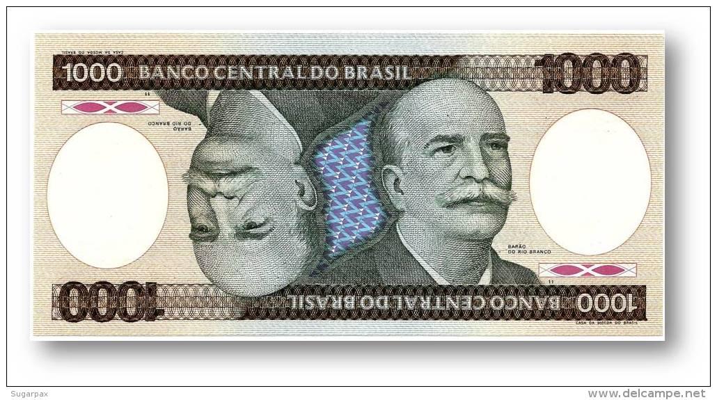 BRASIL - 1000 CRUZEIROS - ND ( 1986 ) - P 201.d - UNC. - Serie 1 - Sign. 22 - Prefix B - Barão Do Rio Branco - Brazil