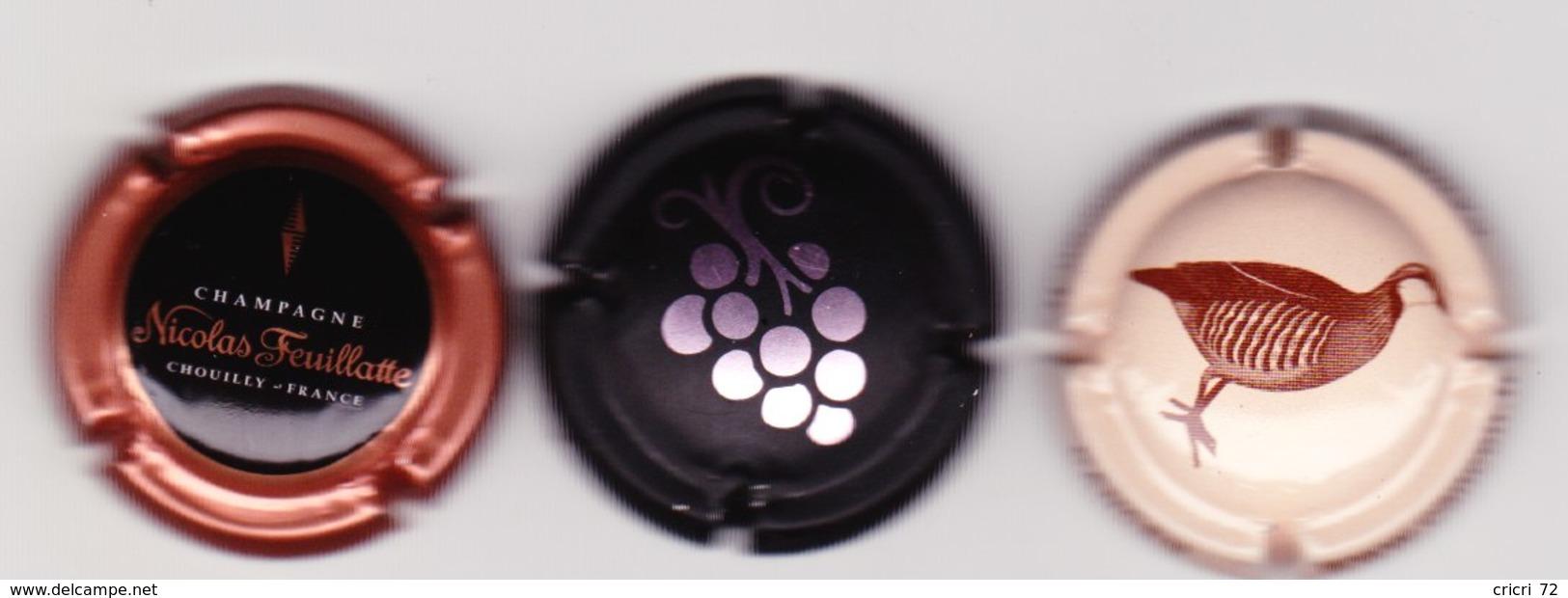 3 Capsules Muselets  1 Champagne Nicolas Feuillate 2 Vouvray Val De Loire Dont 1 Série Animaux - Capsules & Plaques De Muselet