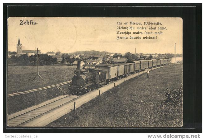 AK Zehfis, Eisenbahnzug Passiert Den Ort - Latvia
