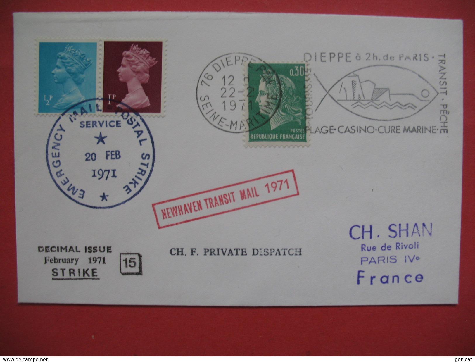 Lettre Greve 20 /02/1971  , Cover Postal Strike 1971 , Newhaven Transit Mail - Poststempel