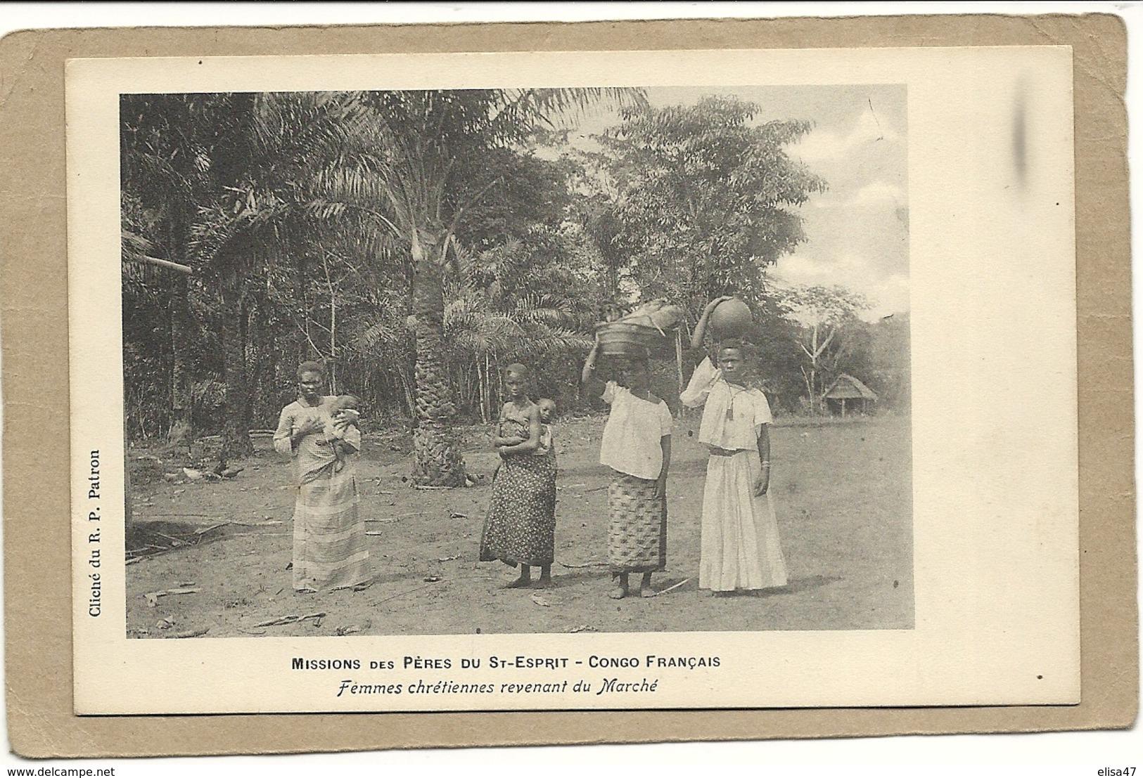 CONGO FRANCAIS  FEMMES  CHRETIENNES  REVENANT DU MARCHE - Congo Français - Autres