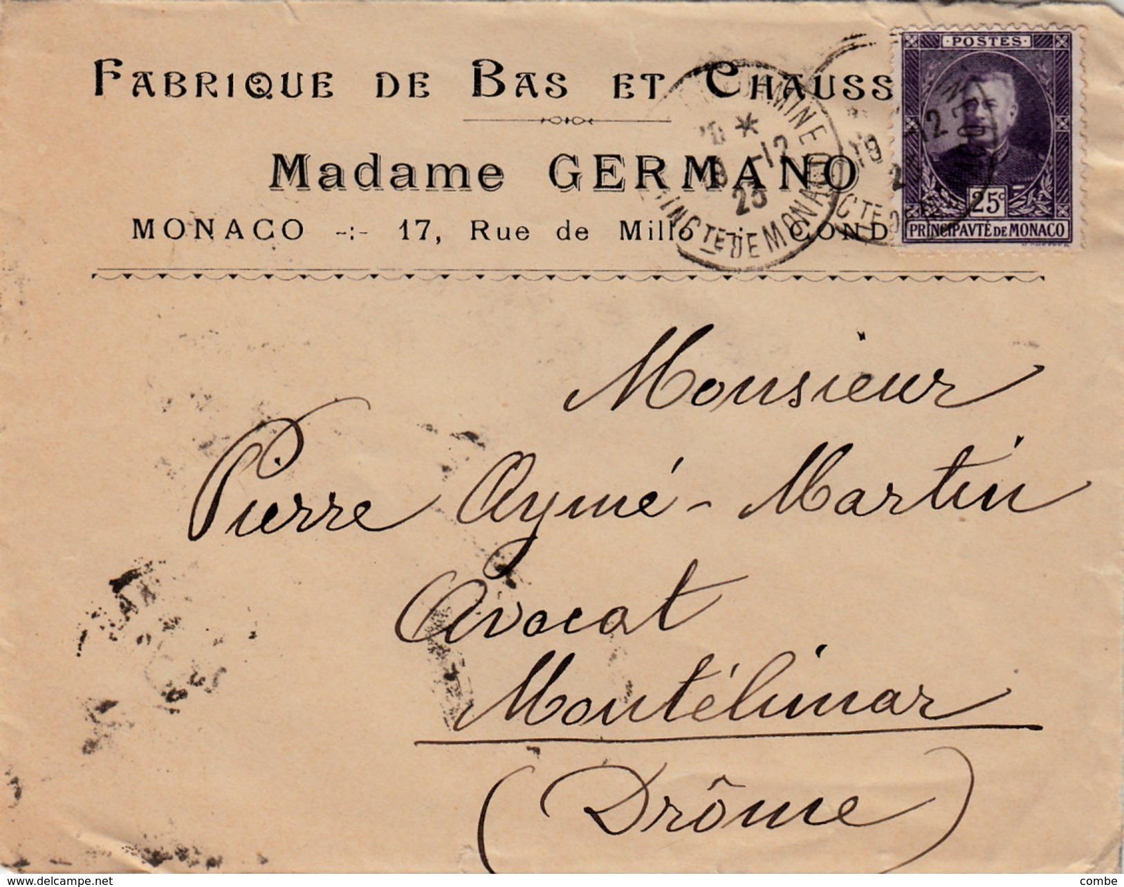 MONACO DEVANT DE LETTRE. 18.12.23.  MADAME GERMANO FABRIQUE DE BAS ET CHAUSSETTES LA CONDAMINE POUR MONTELIMAR N° 68d SE - Monaco